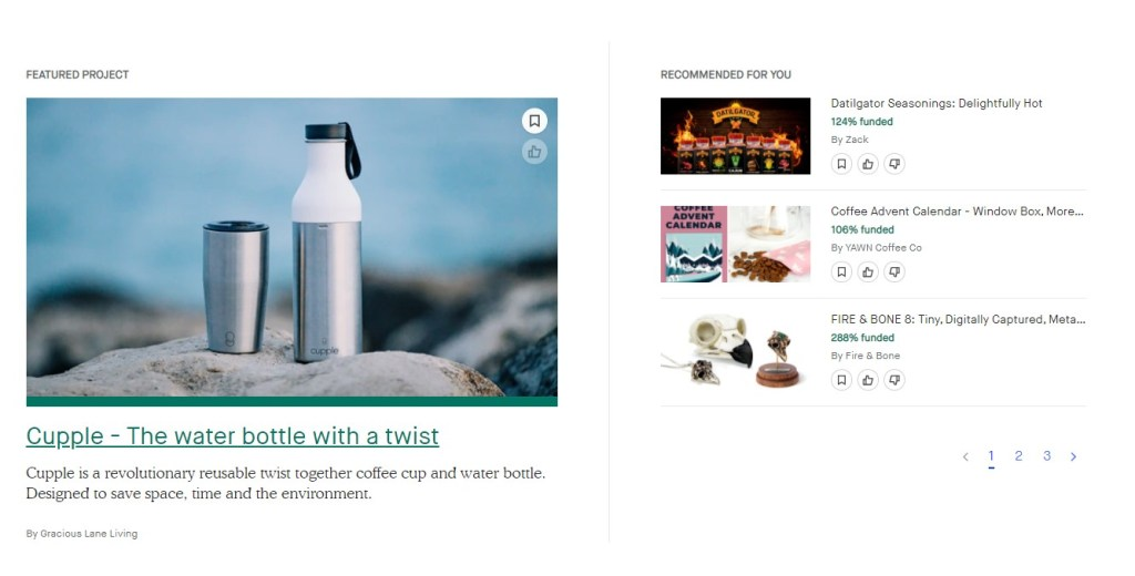 Kickstarter - finding winning dropshipping product inspiration