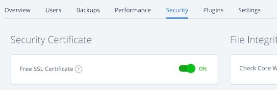 BlueHost free SSL certificate setting