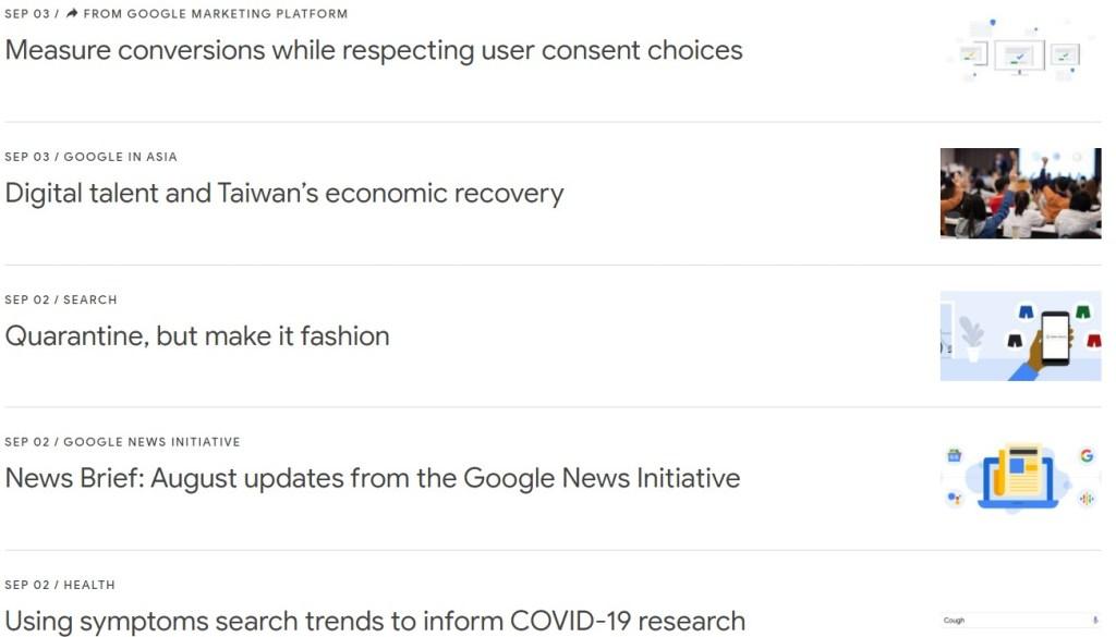 Google blog posts in reverse chronological order