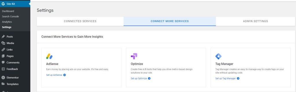 Google Site Kit settings
