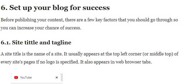 Headings in a blog posts