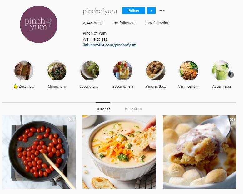 Pinch Of Yum Instagram profile