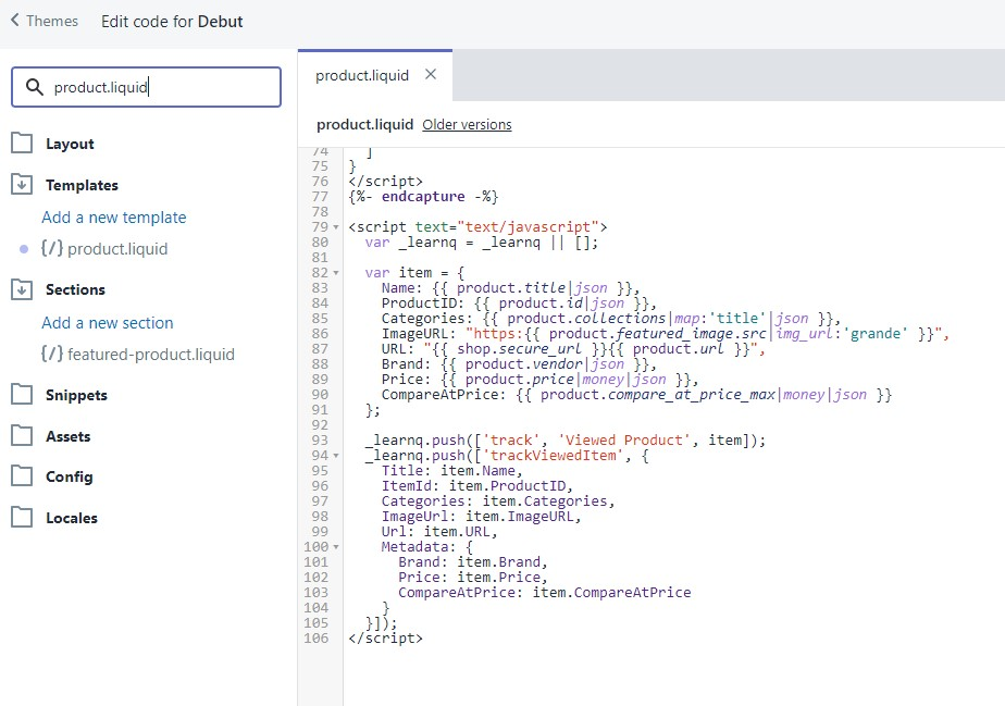 Add tracking code to product.liquid file