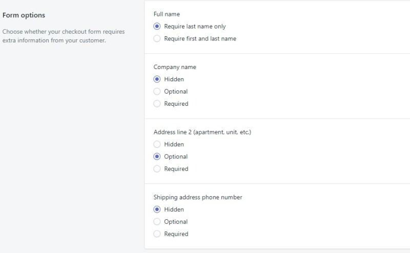 Shopify checkout form settings