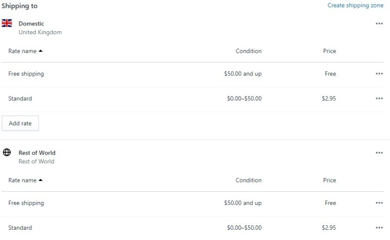 Shopify shipping rates final result