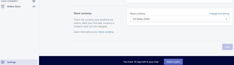 Shopify store currency setting