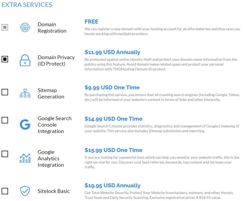 TMDHosting extra services information
