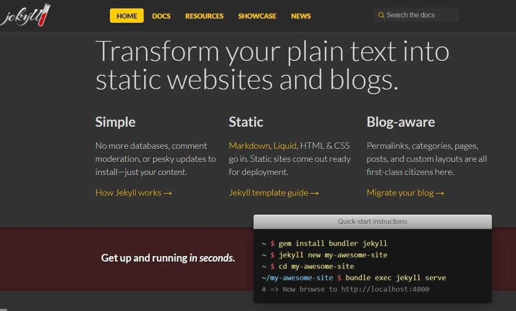 Jekyll blogging platform homepage