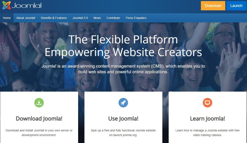 Joomla blogging platform homepage
