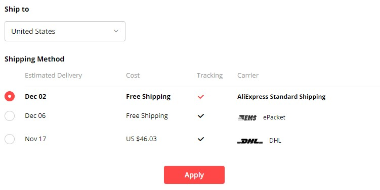 AliExpress product shipping methods and times