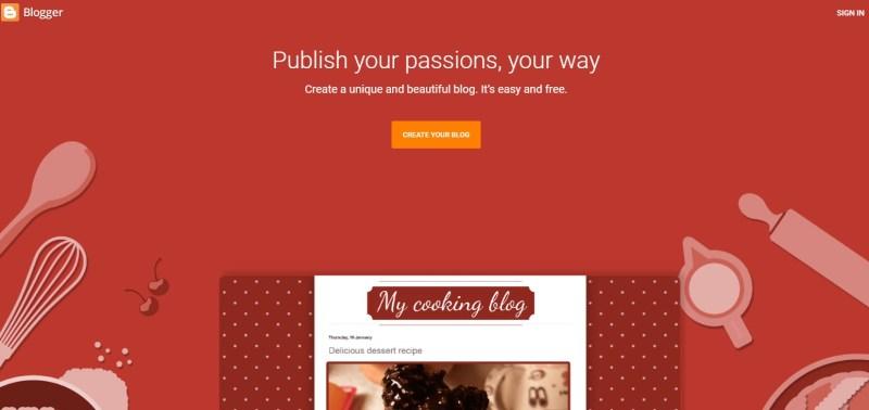 Blogger.com blogging platform homepage