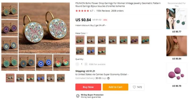 Boho Flower Drop Earrings on AliExpress