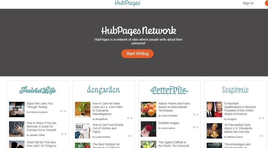 Hubpages blogging platform homepage