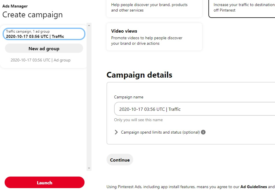 Create an ad campaign on Pinterest