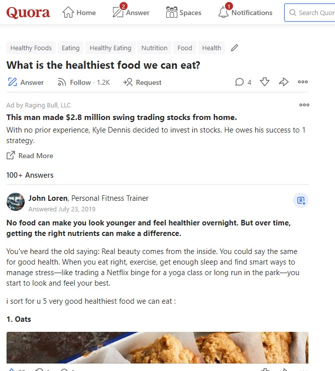 "Quora answers for ""What is the healthiest food we can eat?"""