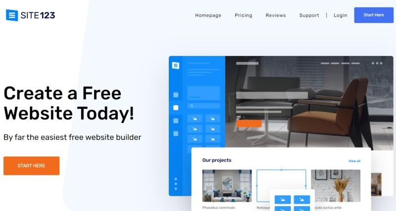Site123 blogging platform homepage