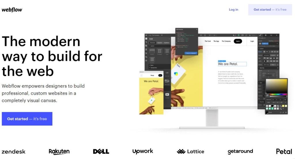 Webflow blogging platform homepage