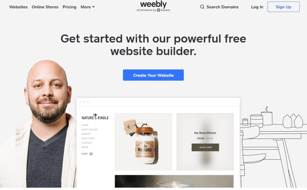 Weebly blogging platform homepage