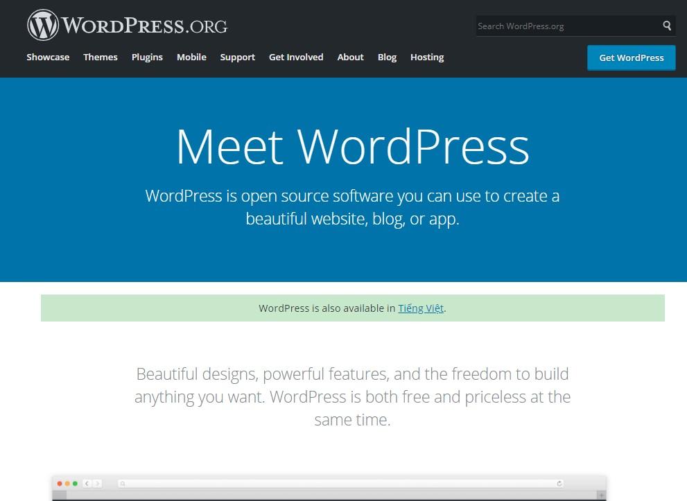 WordPress blogging platform homepage