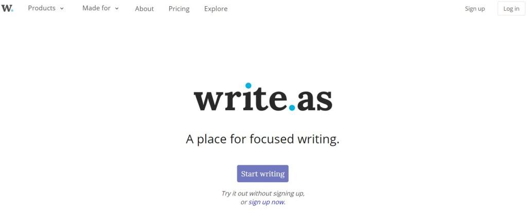 Write.as blogging platform homepage