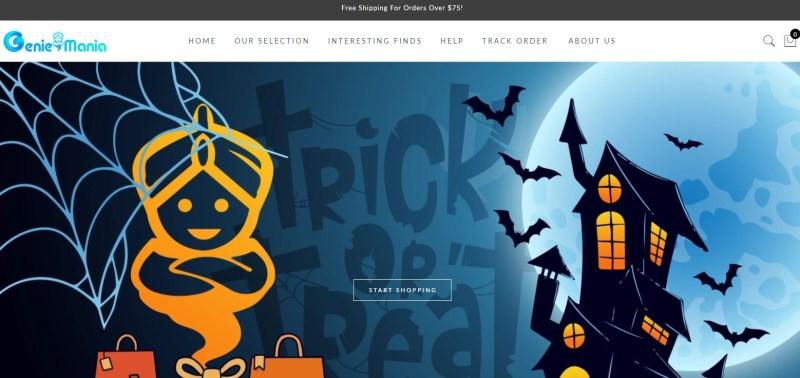 GenieMania dropshipping store homepage