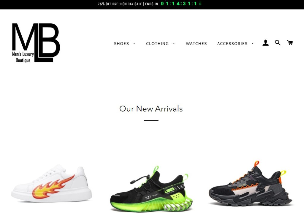 MensLuxuryBoutique dropshipping store homepage