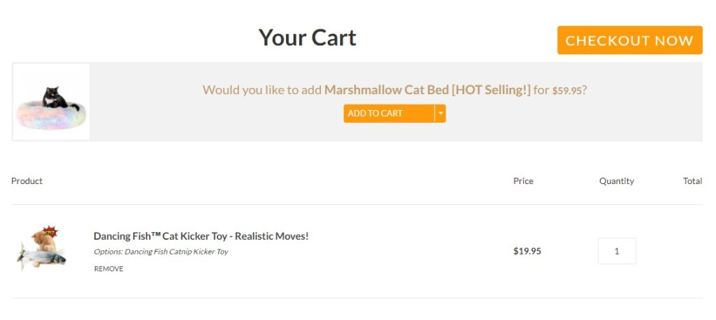 AmazinglyCat up-selling and cross-selling on cart pages