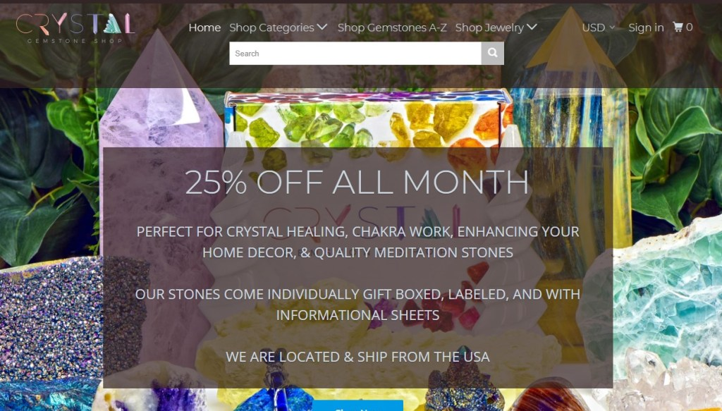 CrystalGemStoneShop dropshippong store homepage