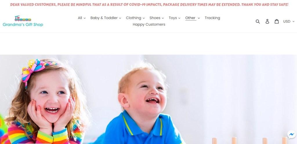 GrandMasGiftShop dropshipping store homepage