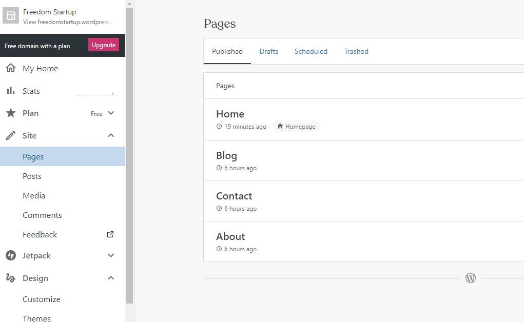 WordPress.com pages tab