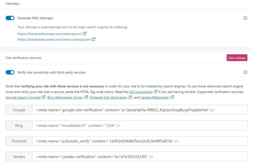 Site maps and verification on WordPress.com