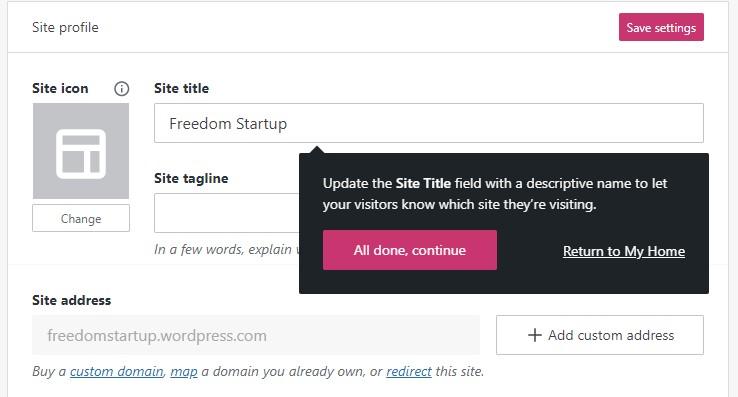 Update site title in WordPress.com