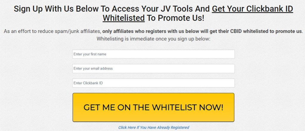 Email sign up to get affiliate marketing materials