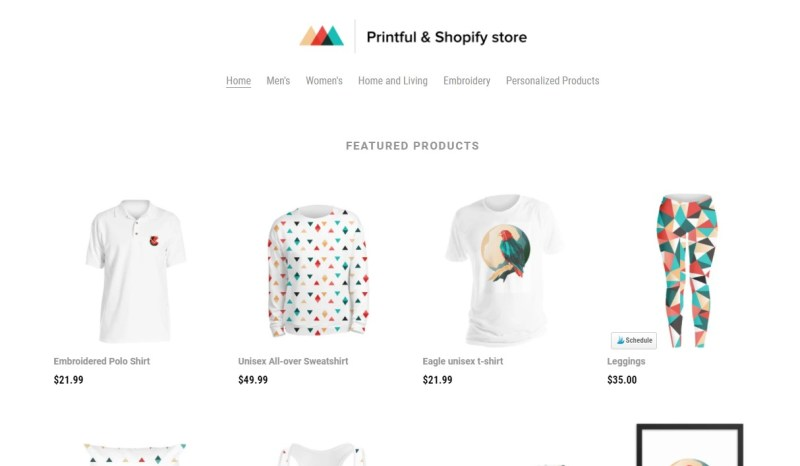 Printful app for Shopify print-on-demand, dropshipping, and warehousing service