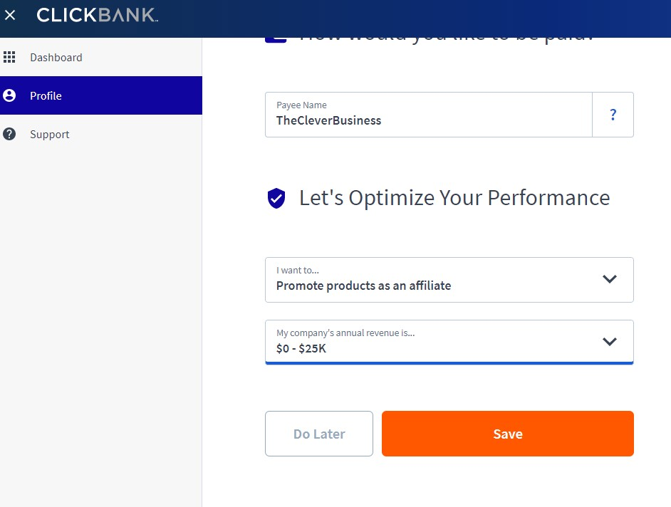 Clickbank profile setup