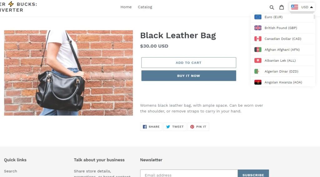 BUCKS Currency Converter PRO Shopify app