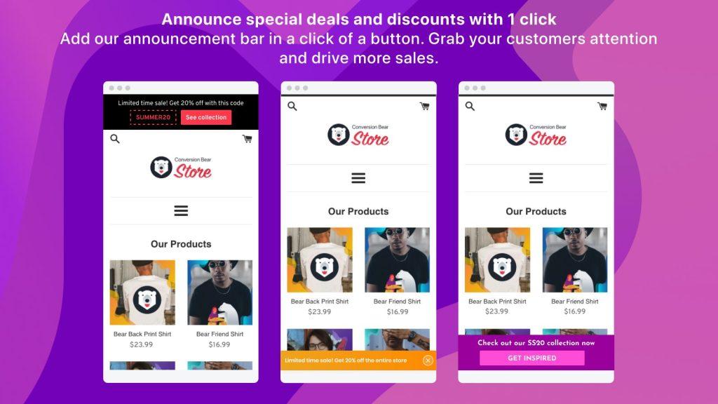 Discount Announcement Bar free Shopify app