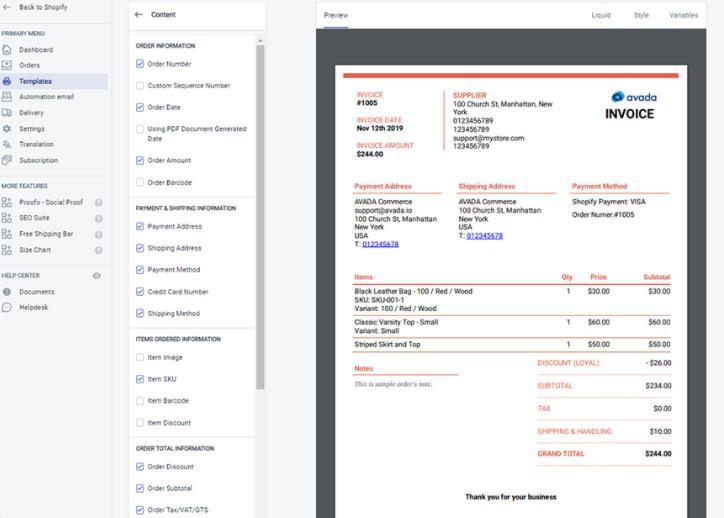 PDF invoice Shopify app