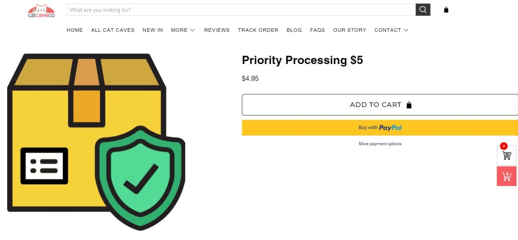 CatCaveCo priority processing product