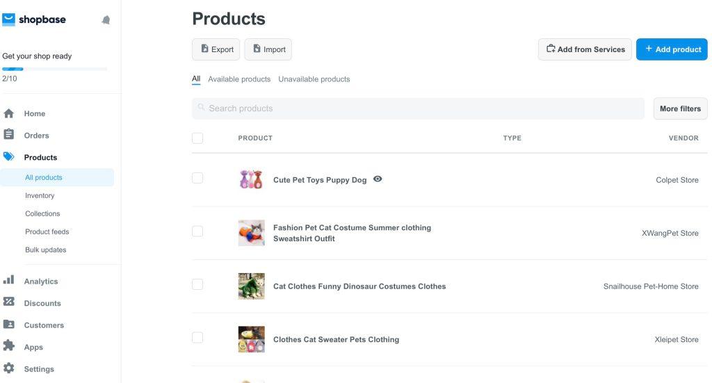 ShopBase product management