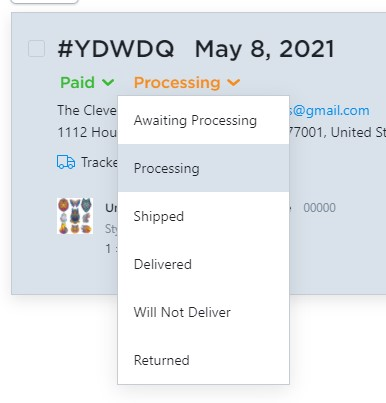 Change order status to processing in Ecwid