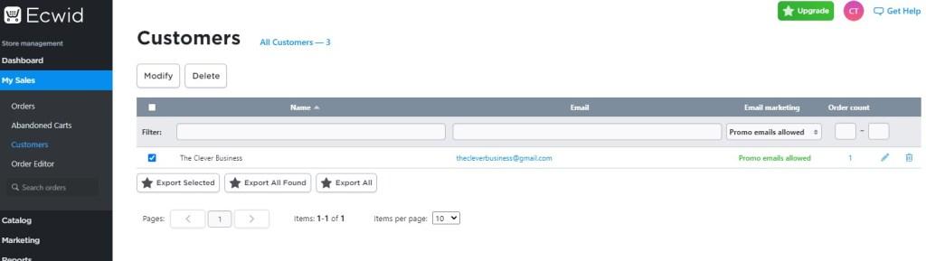 Ecwid customers tab