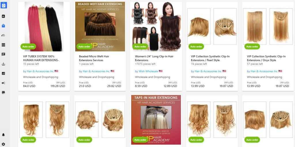 Hair extensions dropshipping products on Syncee