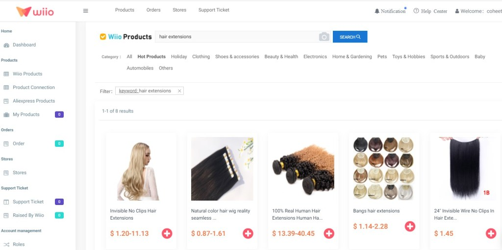 Hair extension dropshipping products on Wiio