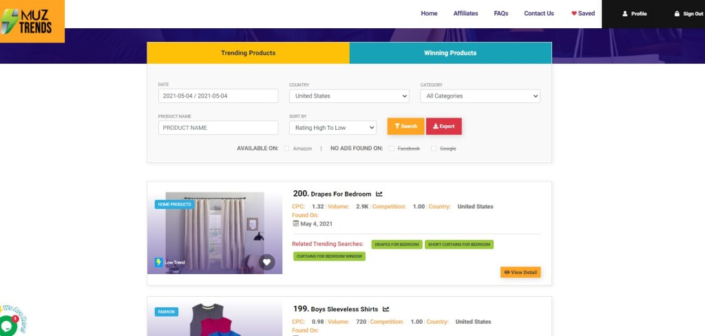 MUZ Trends dropshipping product research tool