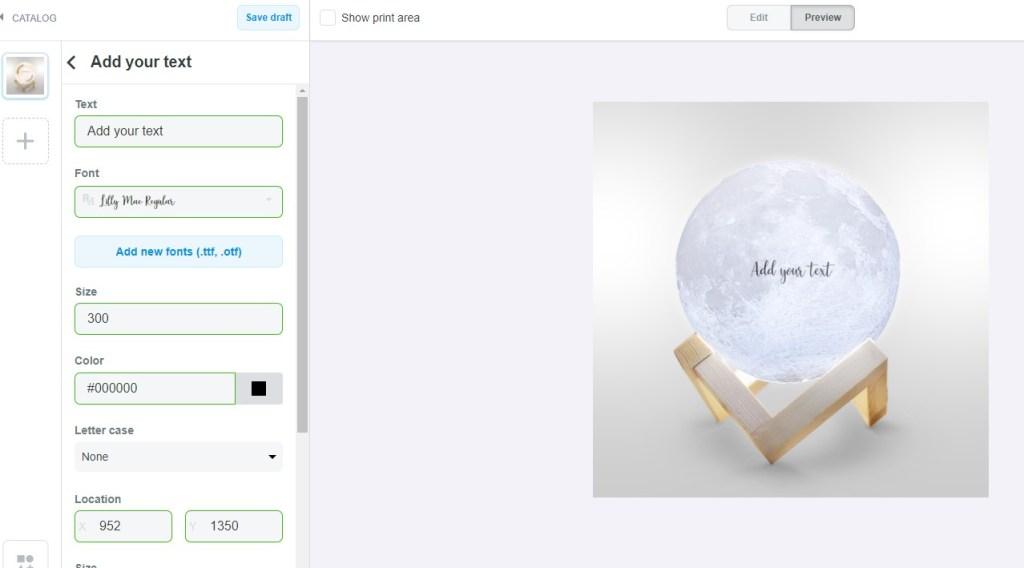 ShopBase Printhub product design window