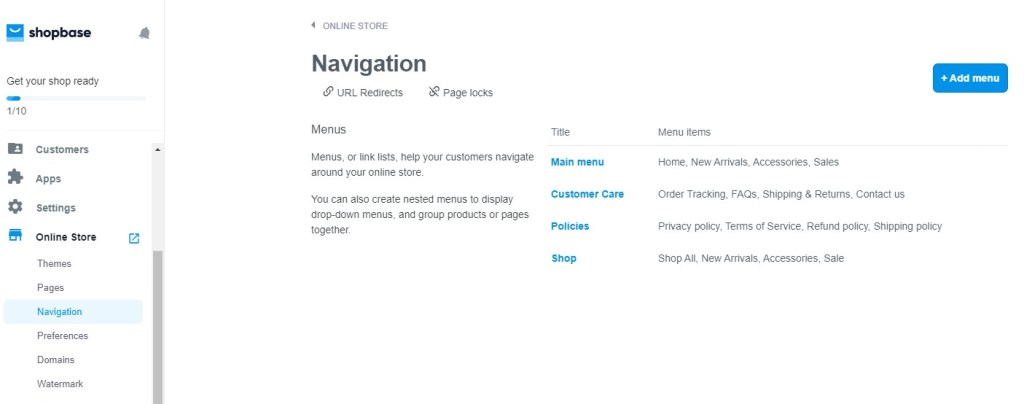 ShopBase navigation