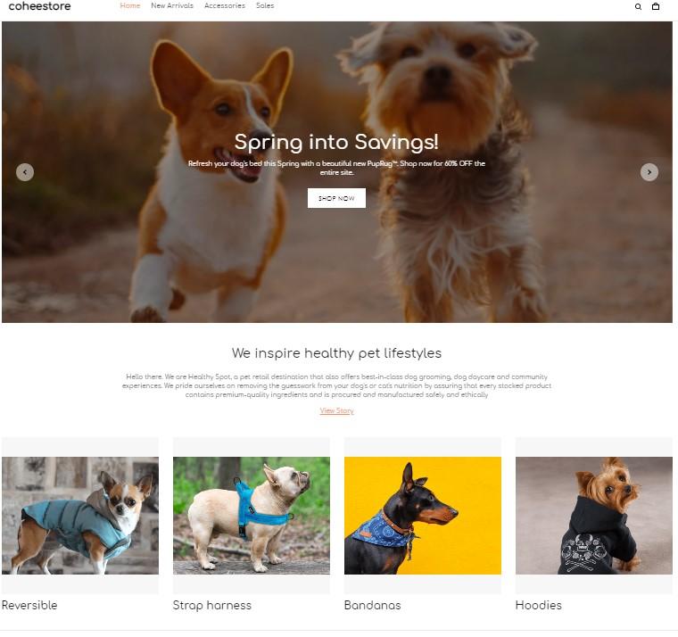 ShopBase store homepage