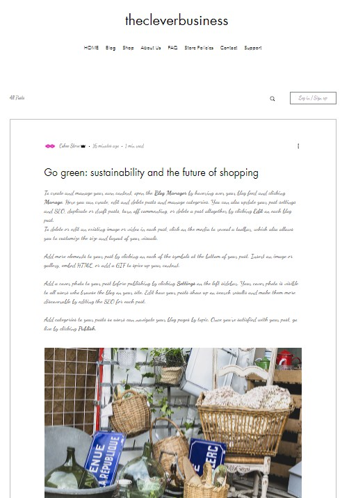 Wix blog post design