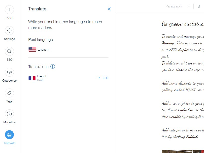 Wix blog translation